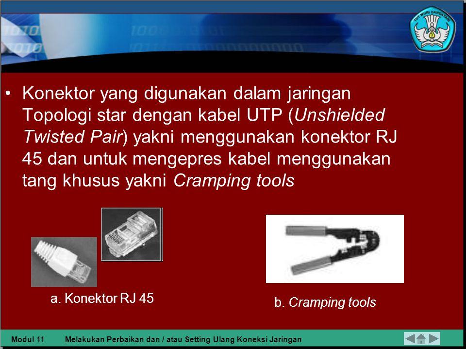 Konektor yang digunakan dalam jaringan Topologi star dengan kabel UTP (Unshielded Twisted Pair) yakni menggunakan konektor RJ 45 dan untuk mengepres kabel menggunakan tang khusus yakni Cramping tools