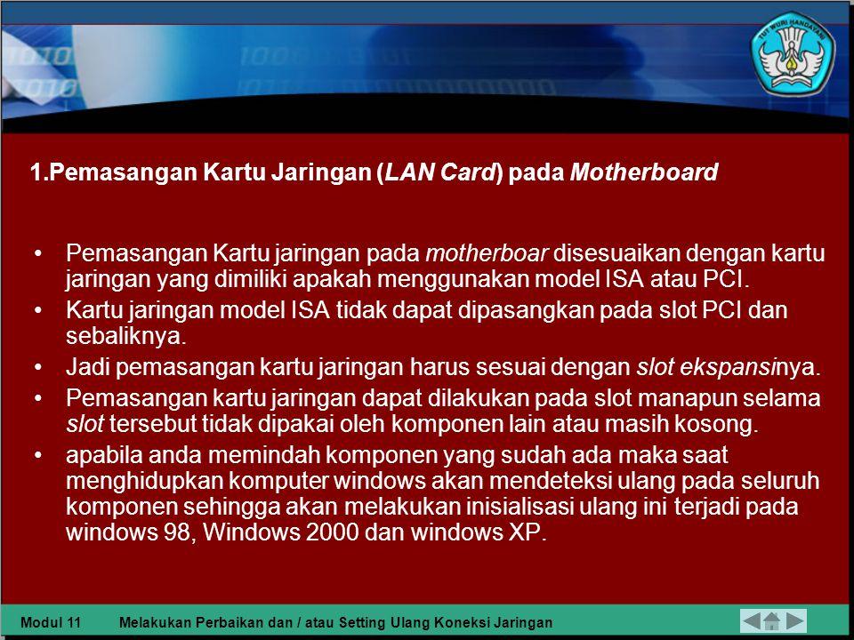 Pemasangan Kartu Jaringan (LAN Card) pada Motherboard