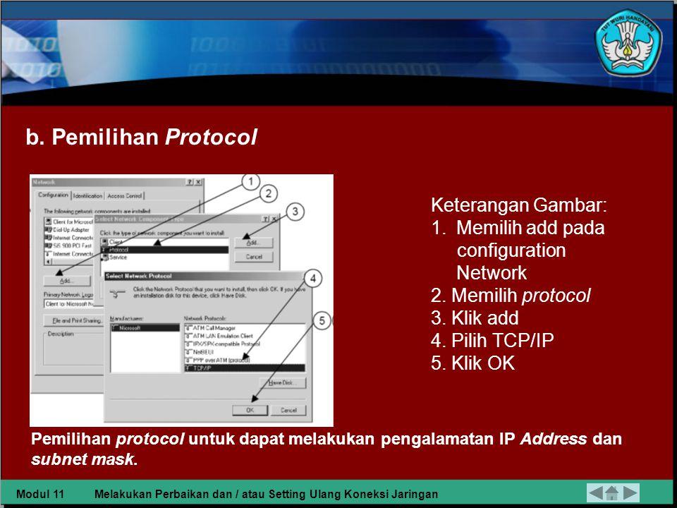 b. Pemilihan Protocol Keterangan Gambar: Memilih add pada