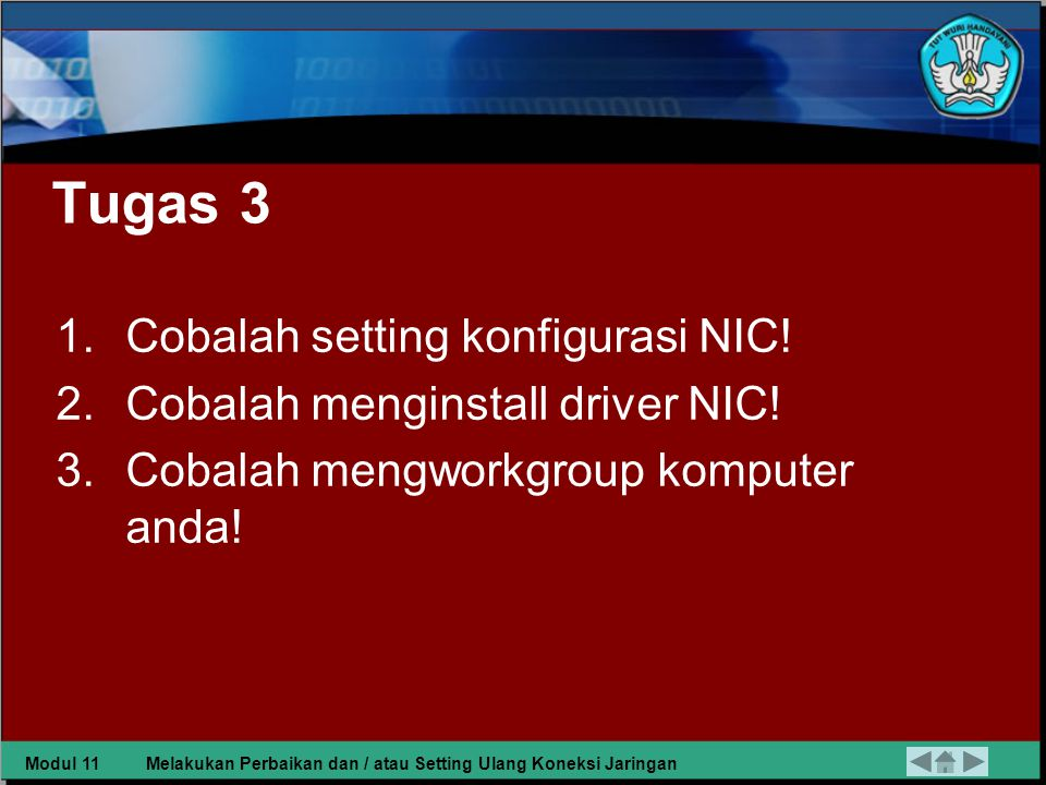 Tugas 3 Cobalah setting konfigurasi NIC!
