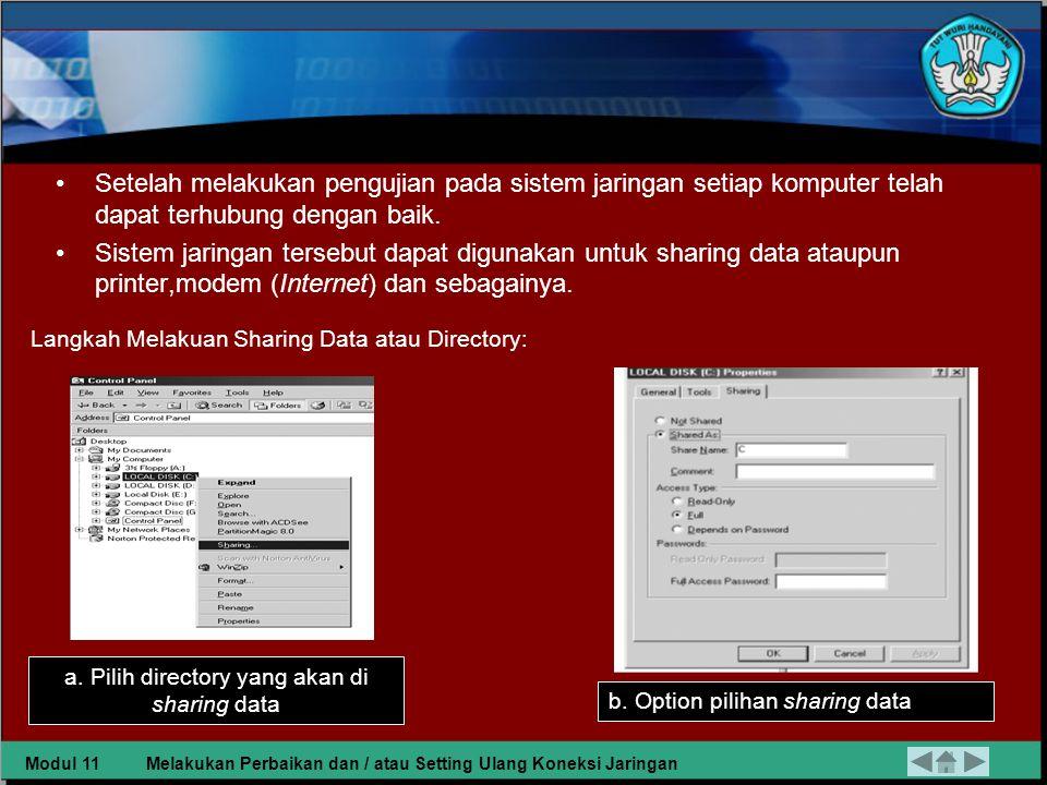 a. Pilih directory yang akan di sharing data