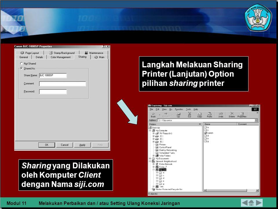 Sharing yang Dilakukan oleh Komputer Client dengan Nama siji.com
