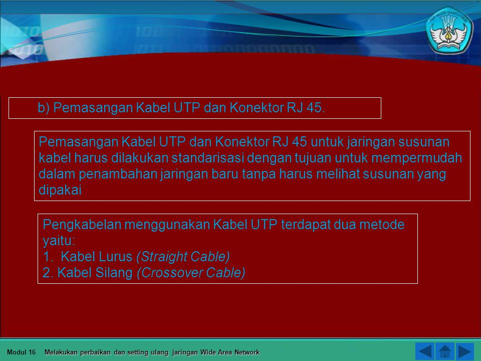 b) Pemasangan Kabel UTP dan Konektor RJ 45.