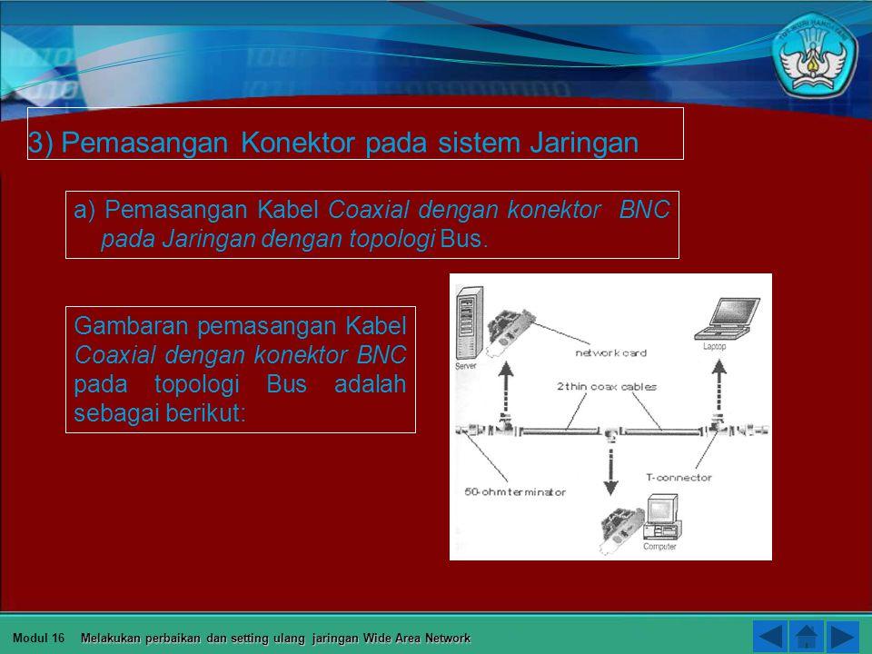 3) Pemasangan Konektor pada sistem Jaringan