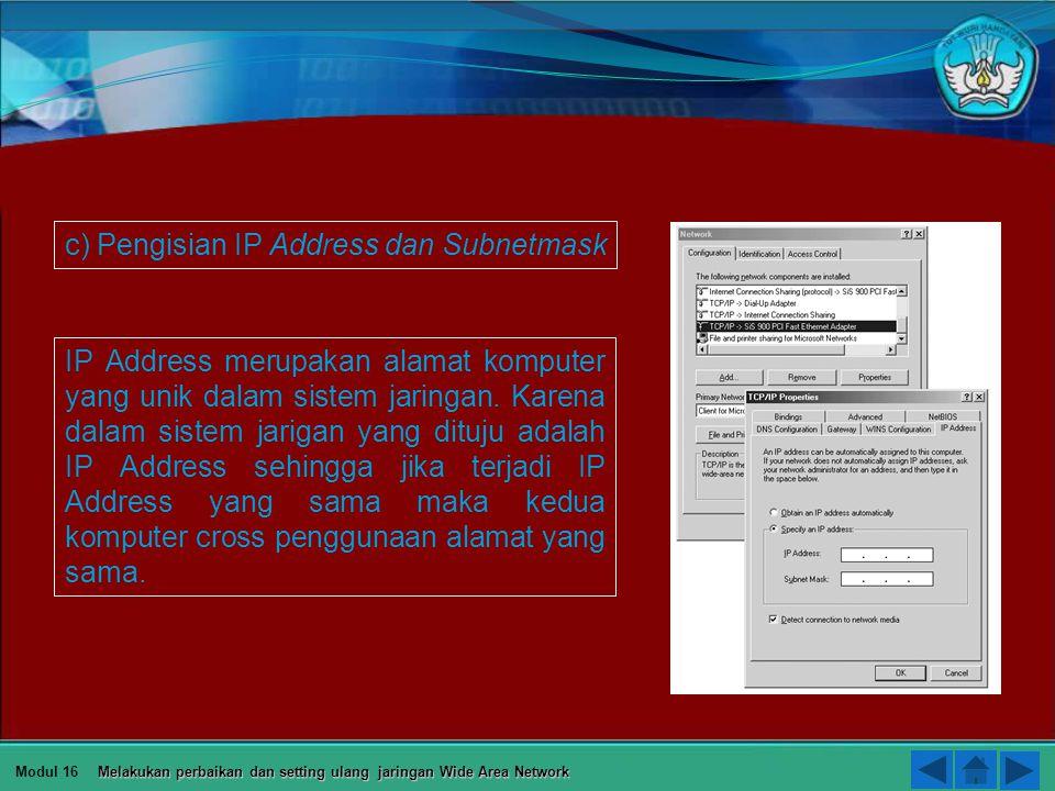 c) Pengisian IP Address dan Subnetmask