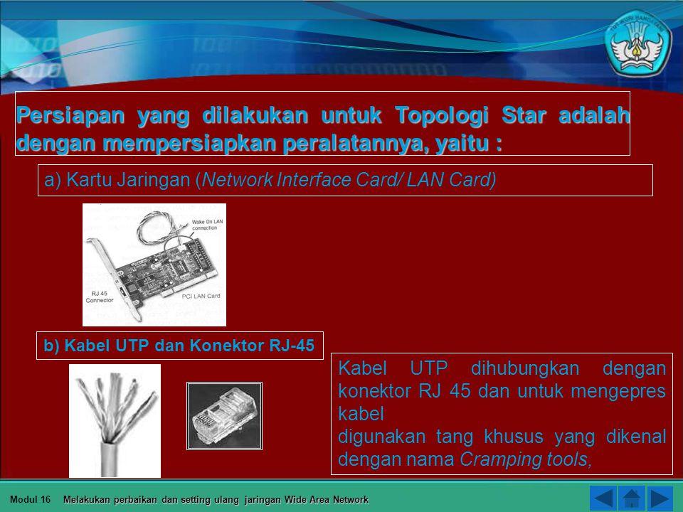 Persiapan yang dilakukan untuk Topologi Star adalah dengan mempersiapkan peralatannya, yaitu :