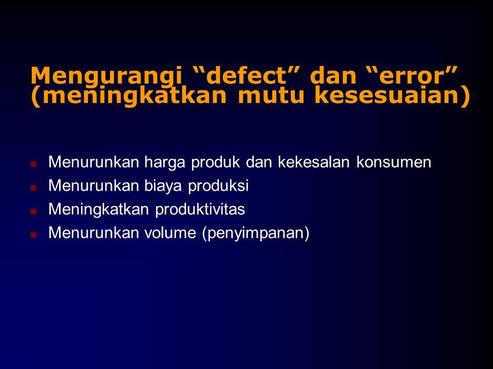 Mengurangi defect dan error (meningkatkan mutu kesesuaian)