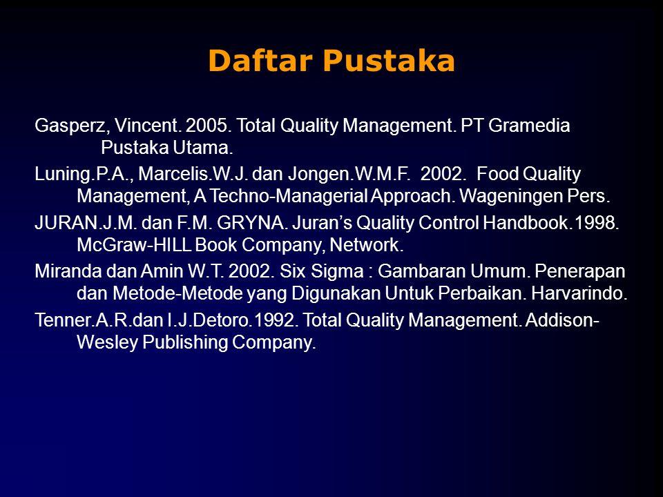 Daftar Pustaka Gasperz, Vincent. 2005. Total Quality Management. PT Gramedia Pustaka Utama.