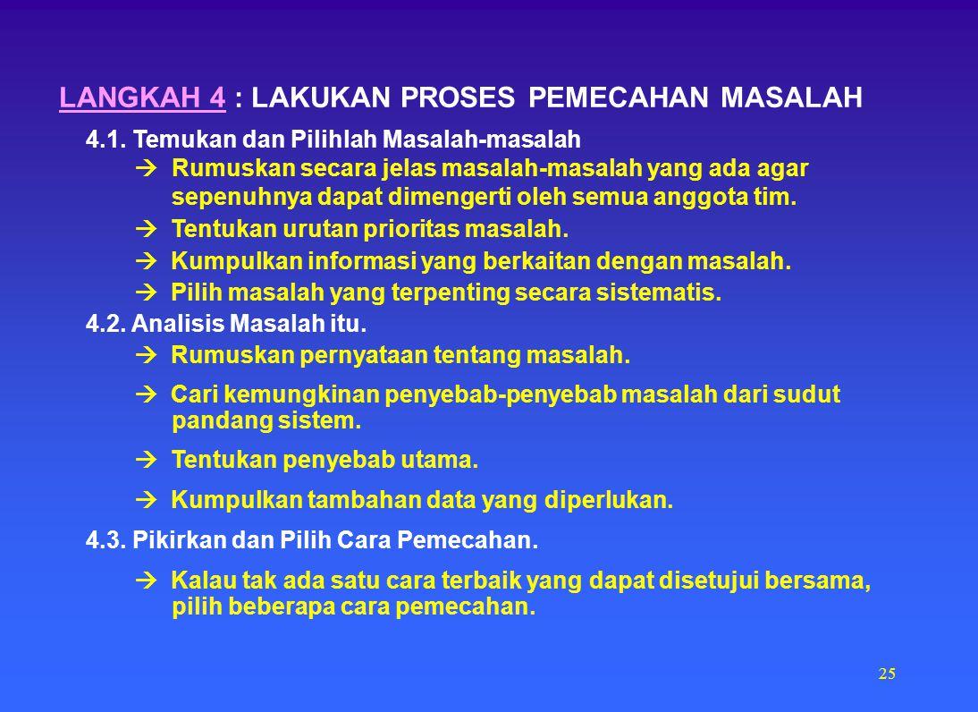 LANGKAH 4 : LAKUKAN PROSES PEMECAHAN MASALAH