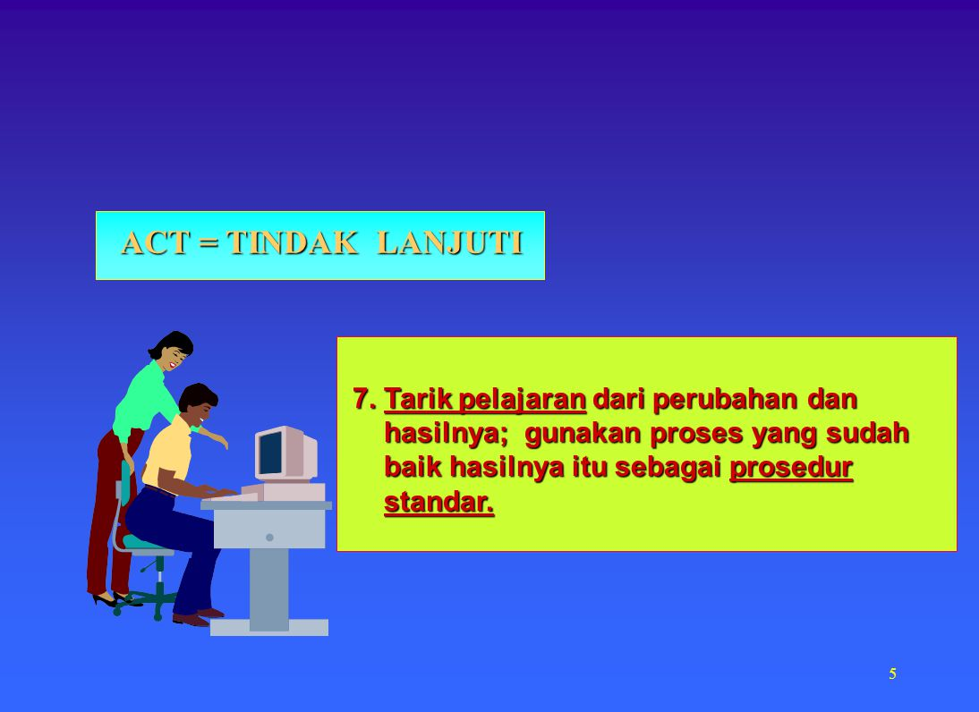 ACT = TINDAK LANJUTI 7. Tarik pelajaran dari perubahan dan