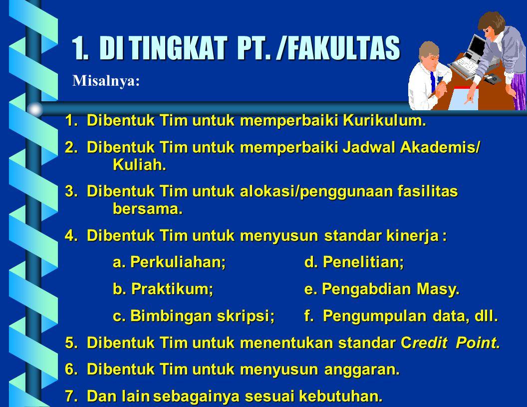 1. DI TINGKAT PT. /FAKULTAS