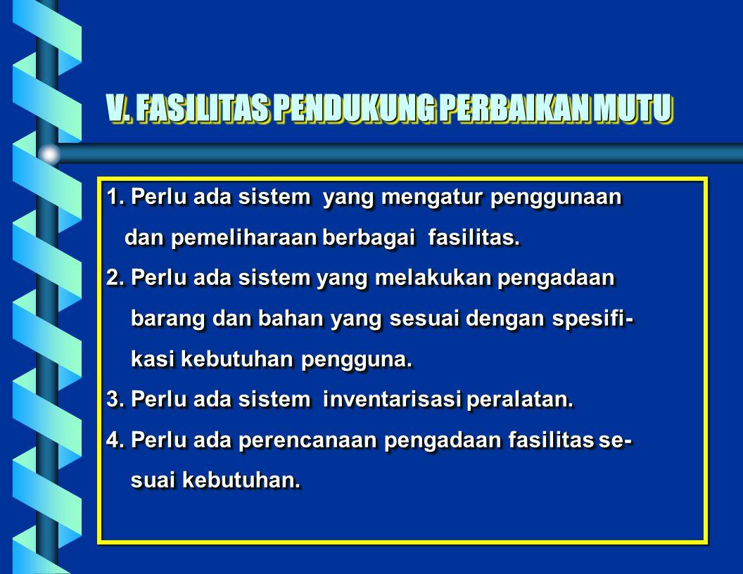V. FASILITAS PENDUKUNG PERBAIKAN MUTU