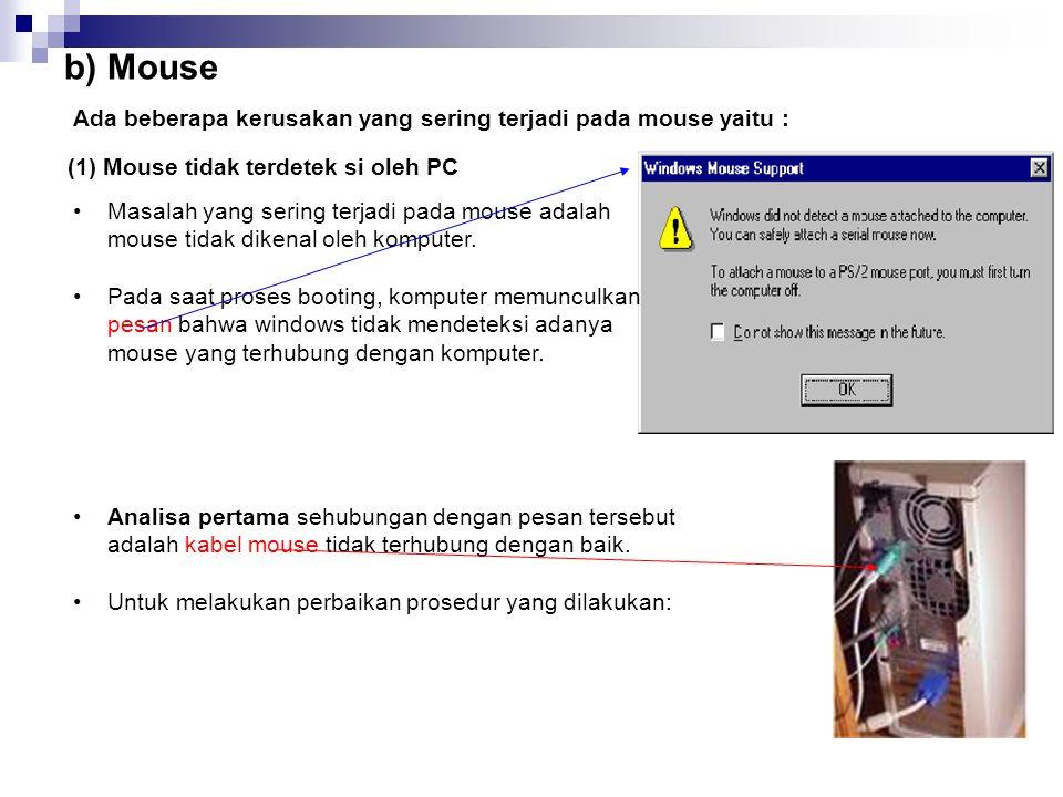 b) Mouse Ada beberapa kerusakan yang sering terjadi pada mouse yaitu :