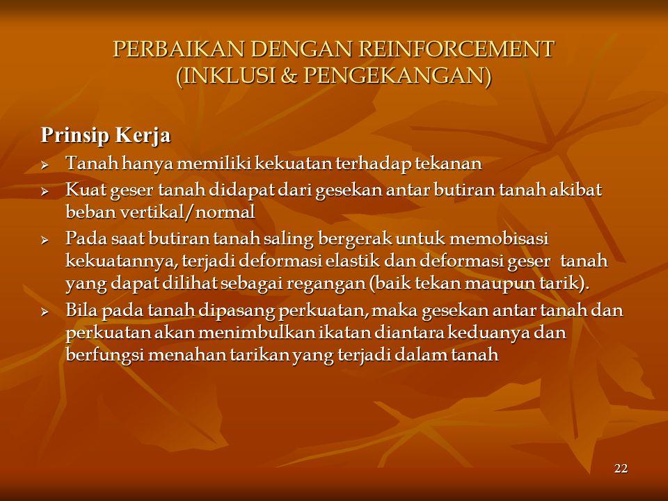 PERBAIKAN DENGAN REINFORCEMENT (INKLUSI & PENGEKANGAN)