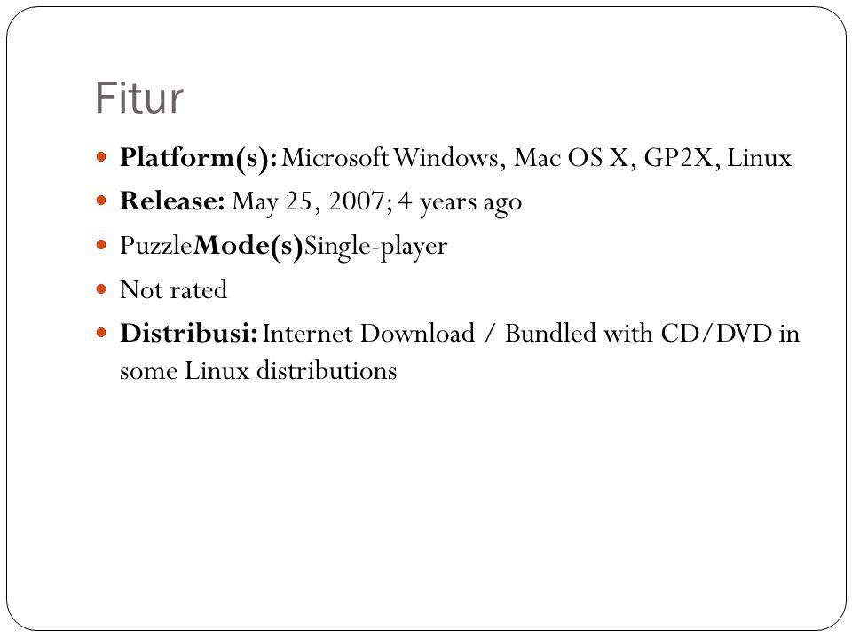 Fitur Platform(s): Microsoft Windows, Mac OS X, GP2X, Linux