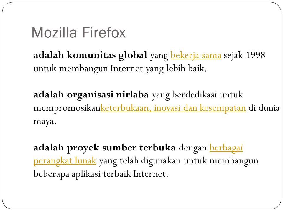 Mozilla Firefox adalah komunitas global yang bekerja sama sejak 1998 untuk membangun Internet yang lebih baik.
