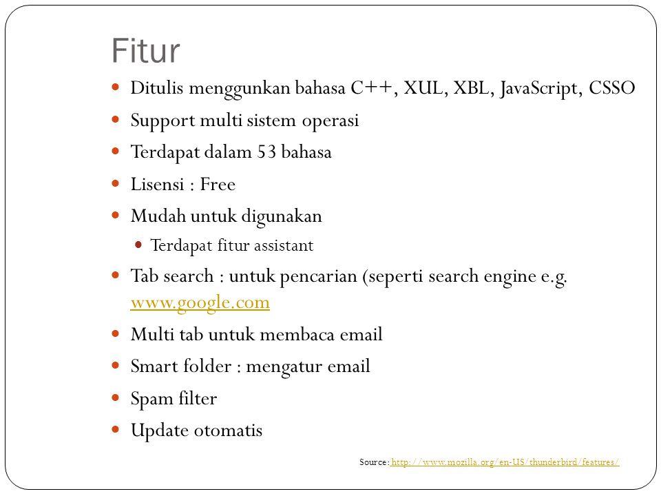 Fitur Ditulis menggunkan bahasa C++, XUL, XBL, JavaScript, CSSO