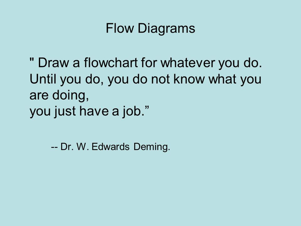 Flow Diagrams Draw a flowchart for whatever you do. Until you do, you do not know what you are doing, you just have a job.