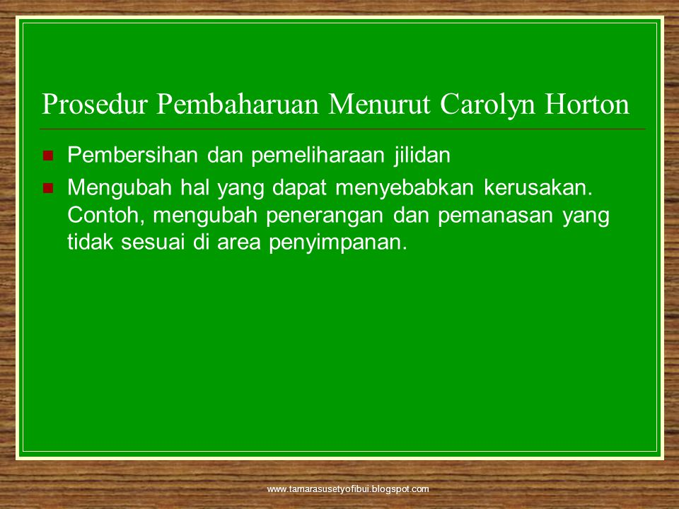 Prosedur Pembaharuan Menurut Carolyn Horton