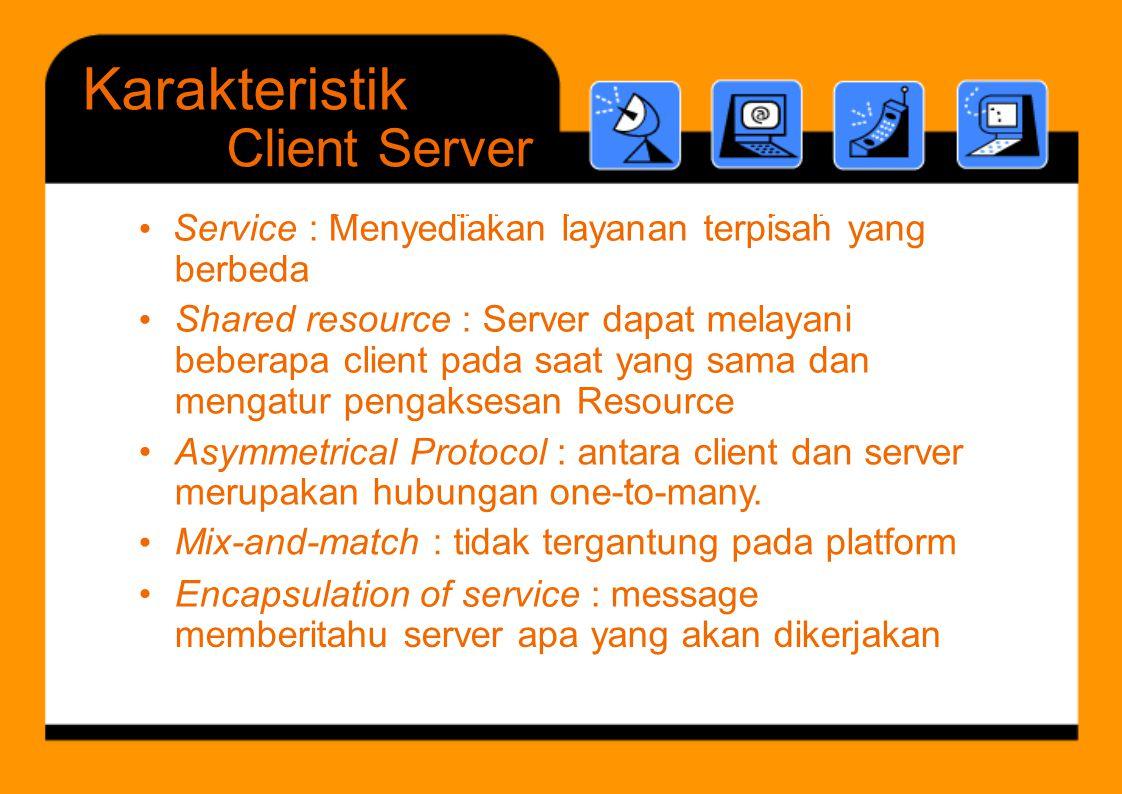 Karakteristik • Service : Menyediakan layanan terpisah yang