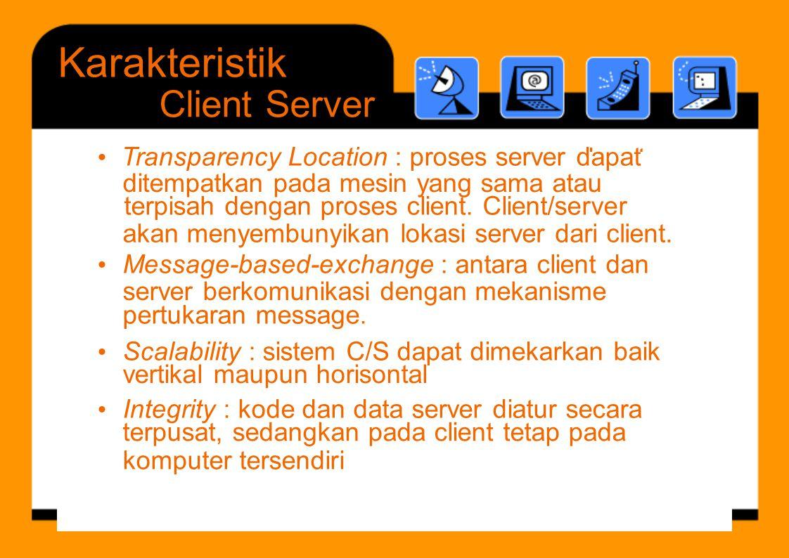 terpisah dengan proses client. Client/server