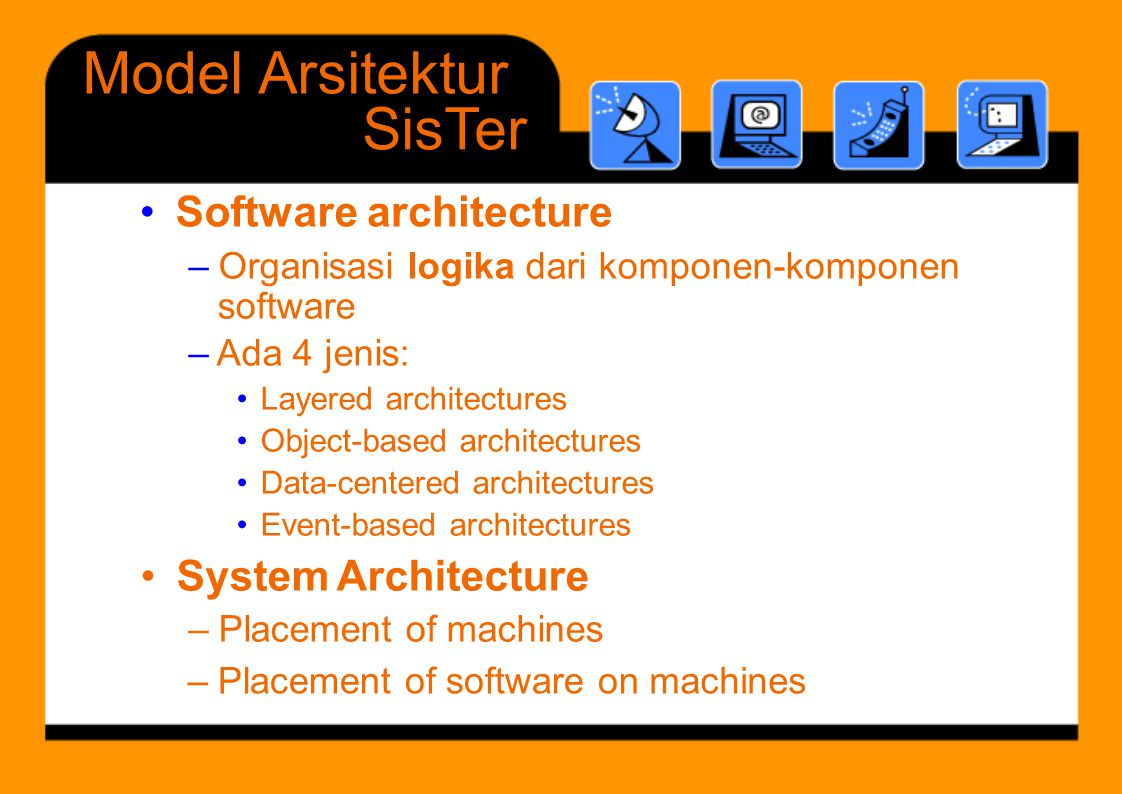 Model Arsitektur SisTer • Software architecture • System Architecture