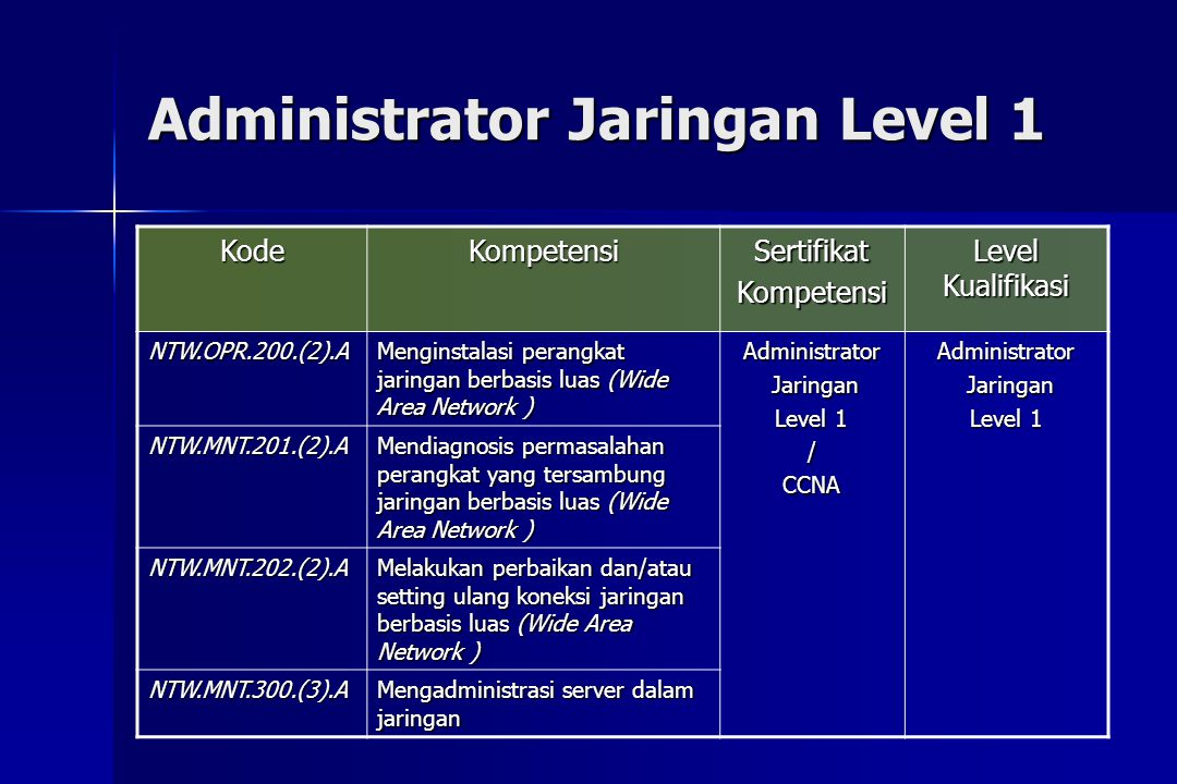 Administrator Jaringan Level 1