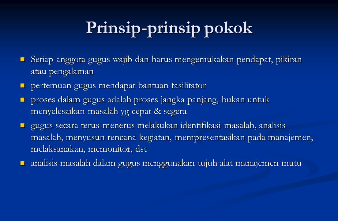 Prinsip-prinsip pokok