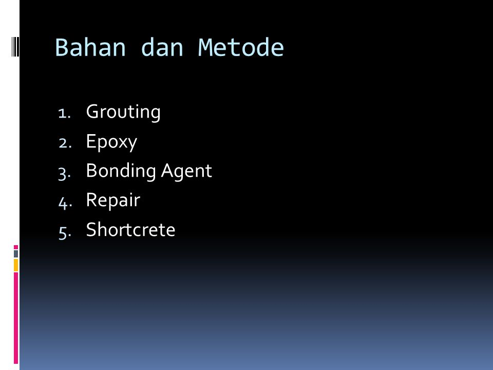 Bahan dan Metode Grouting Epoxy Bonding Agent Repair Shortcrete
