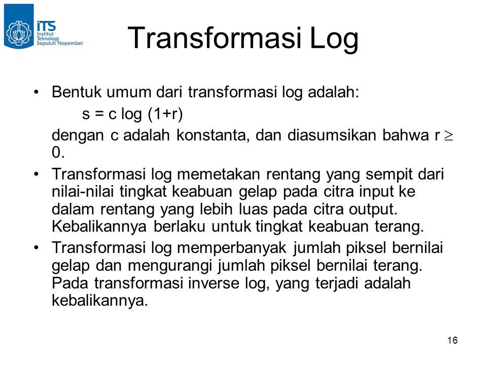Transformasi Log Bentuk umum dari transformasi log adalah: