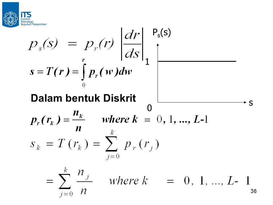 1 s Ps(s) Dalam bentuk Diskrit