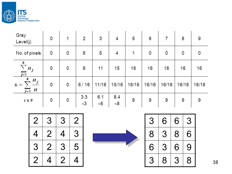 2 3 4 5 3 6 8 9 Gray Level(j) 1 2 3 4 5 6 7 8 9 No. of pixels 11 15 16
