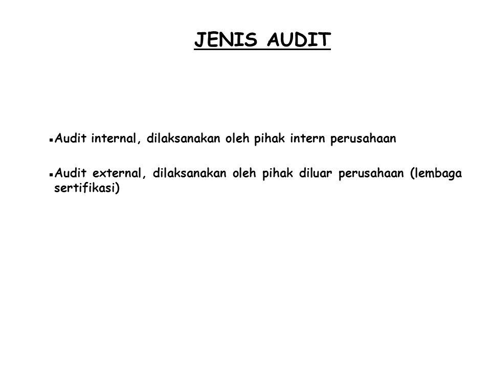 JENIS AUDIT Audit internal, dilaksanakan oleh pihak intern perusahaan