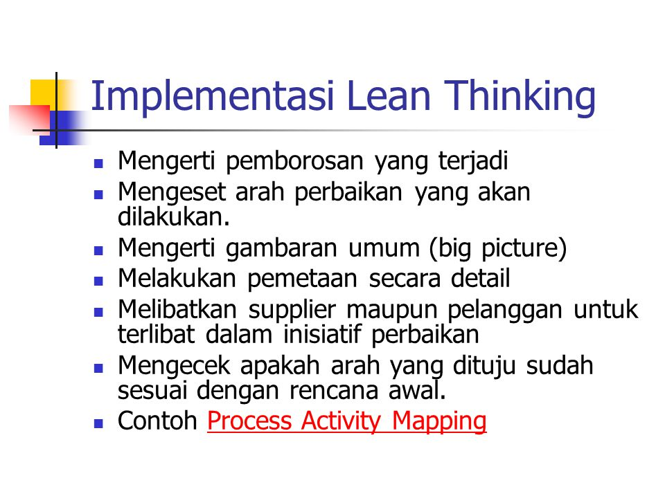 Implementasi Lean Thinking