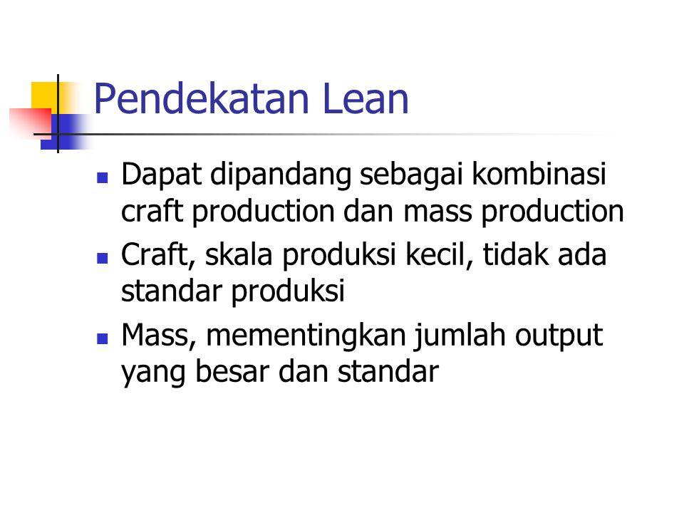 Pendekatan Lean Dapat dipandang sebagai kombinasi craft production dan mass production. Craft, skala produksi kecil, tidak ada standar produksi.