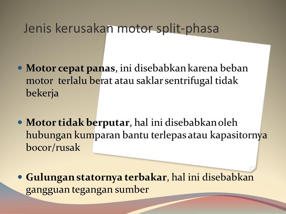 Jenis kerusakan motor split-phasa
