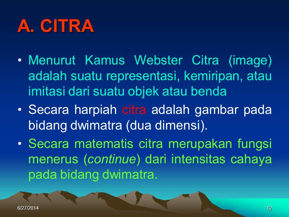 A. CITRA Menurut Kamus Webster Citra (image) adalah suatu representasi, kemiripan, atau imitasi dari suatu objek atau benda.