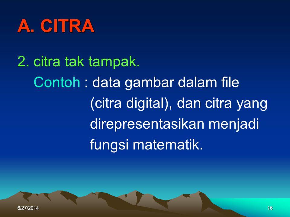 A. CITRA 2. citra tak tampak. Contoh : data gambar dalam file
