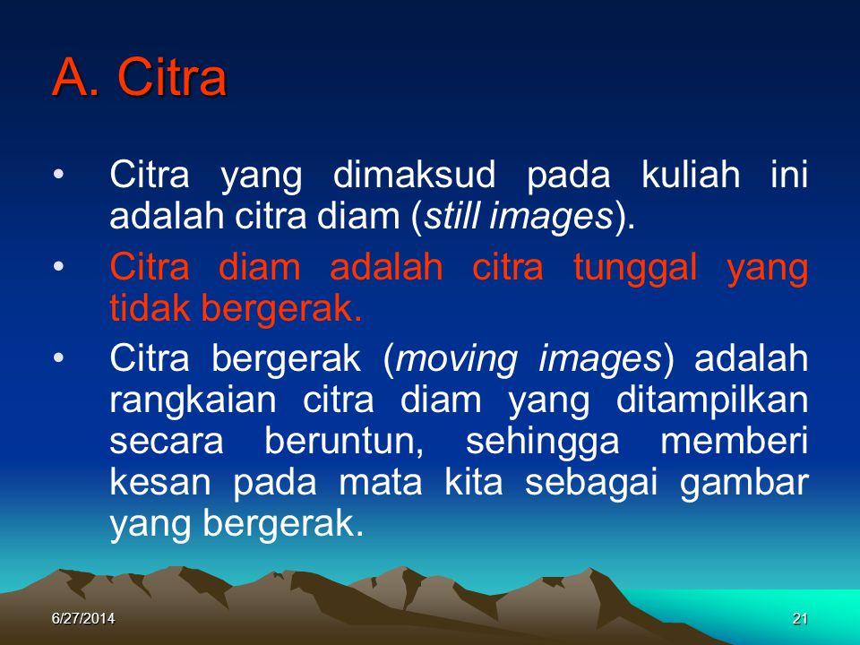 A. Citra Citra yang dimaksud pada kuliah ini adalah citra diam (still images). Citra diam adalah citra tunggal yang tidak bergerak.