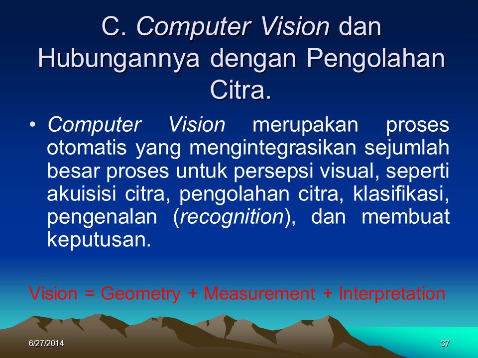 C. Computer Vision dan Hubungannya dengan Pengolahan Citra.