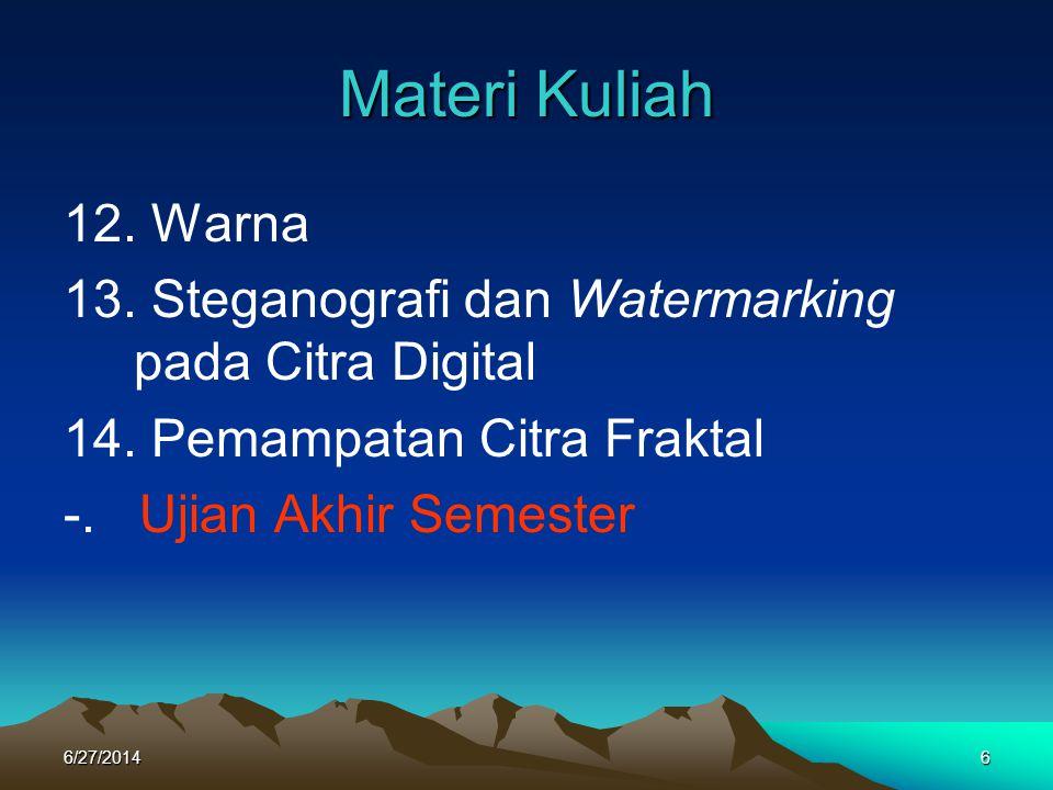 Materi Kuliah 12. Warna. 13. Steganografi dan Watermarking pada Citra Digital. 14. Pemampatan Citra Fraktal.