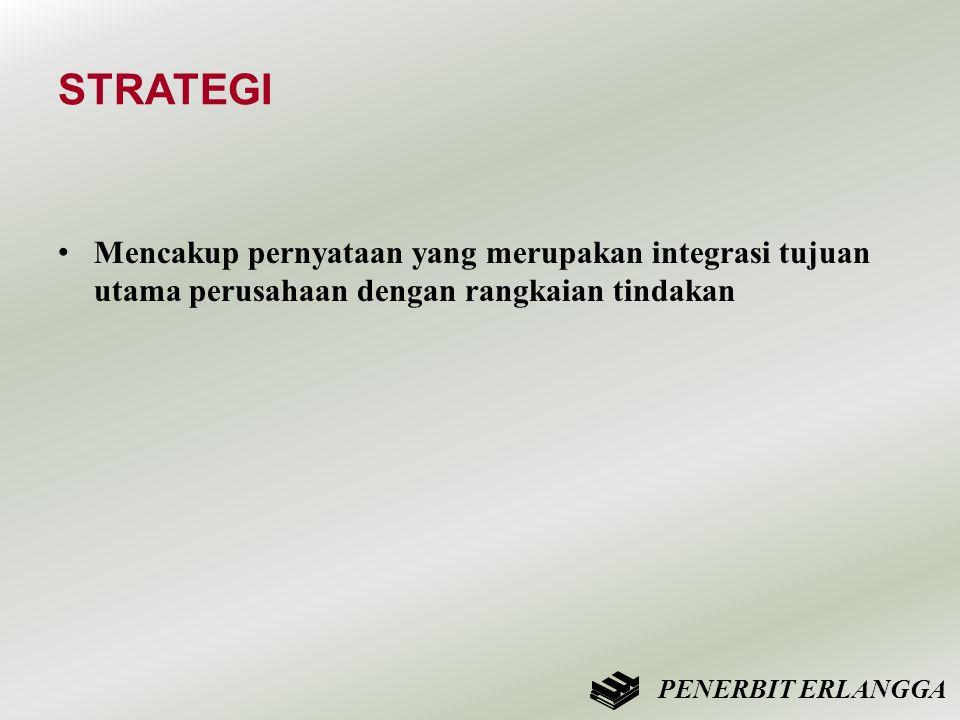 STRATEGI Mencakup pernyataan yang merupakan integrasi tujuan utama perusahaan dengan rangkaian tindakan.