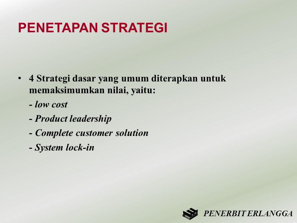 PENETAPAN STRATEGI 4 Strategi dasar yang umum diterapkan untuk memaksimumkan nilai, yaitu: - low cost.
