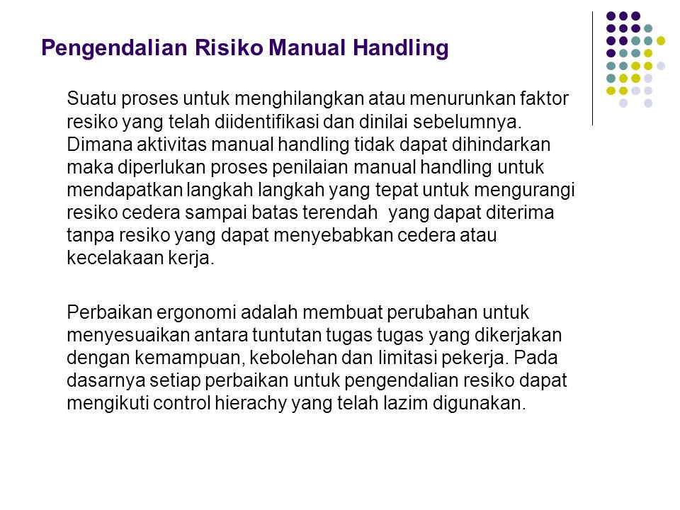 Pengendalian Risiko Manual Handling