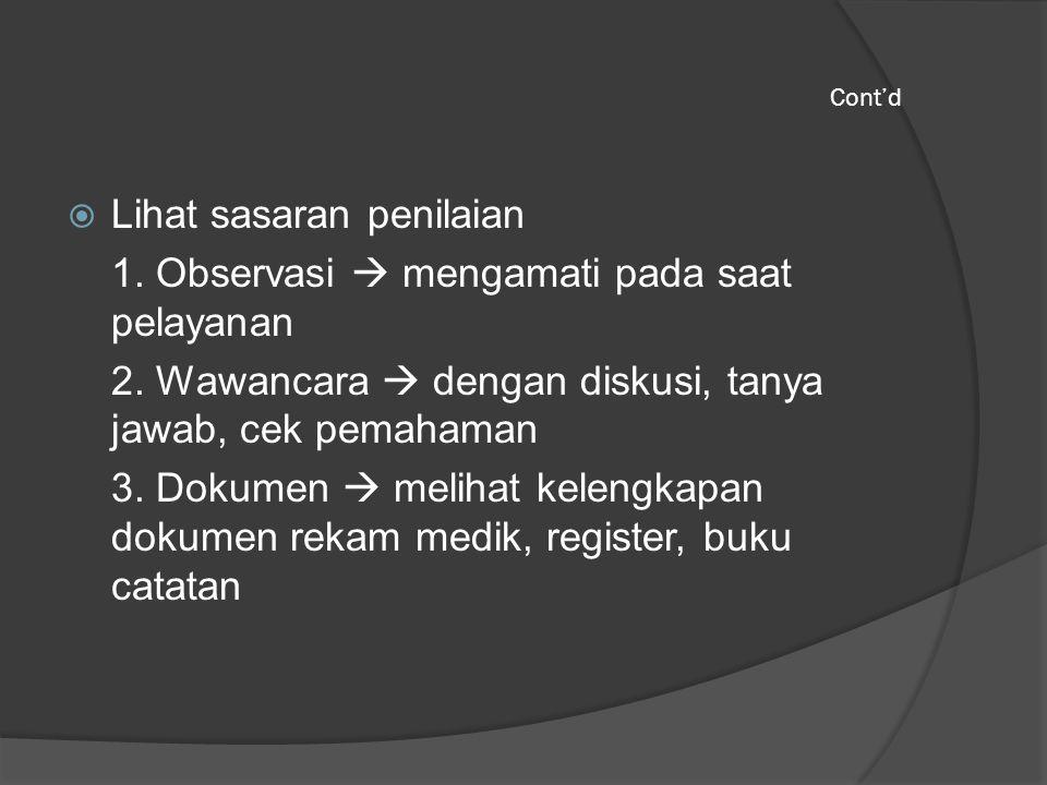 Lihat sasaran penilaian 1. Observasi  mengamati pada saat pelayanan