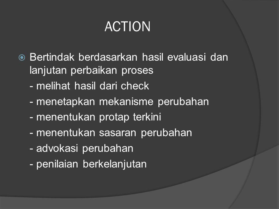 ACTION Bertindak berdasarkan hasil evaluasi dan lanjutan perbaikan proses. - melihat hasil dari check.