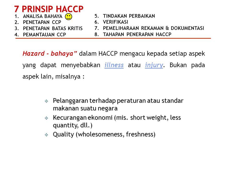 Hazard - bahaya dalam HACCP mengacu kepada setiap aspek yang dapat menyebabkan illness atau injury. Bukan pada aspek lain, misalnya :