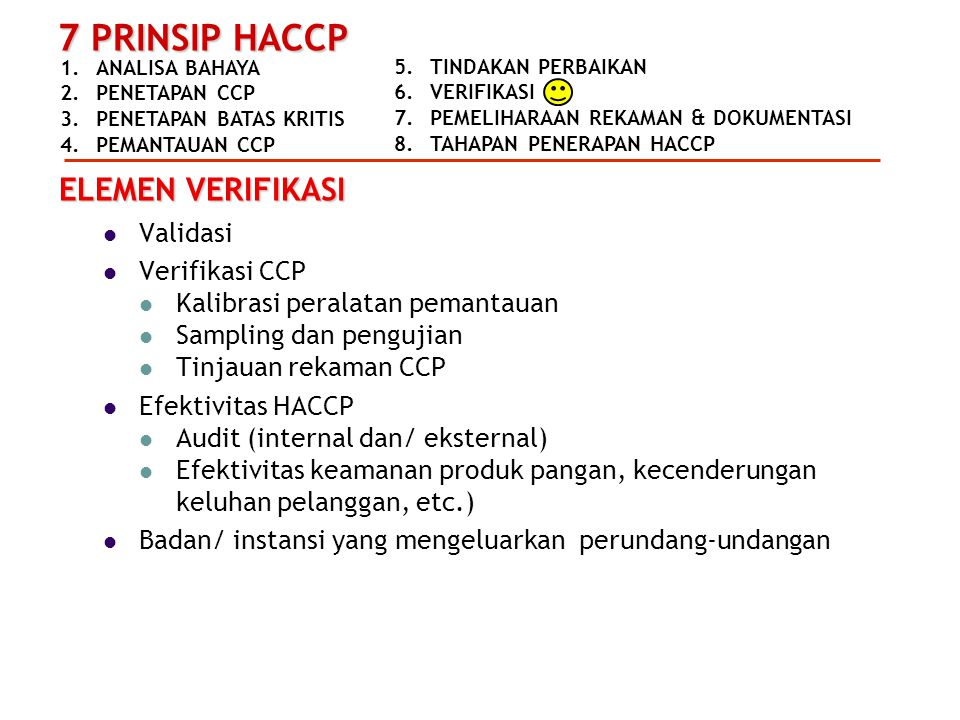 ELEMEN VERIFIKASI Validasi Verifikasi CCP