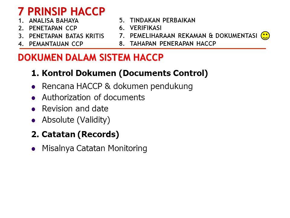 DOKUMEN DALAM SISTEM HACCP