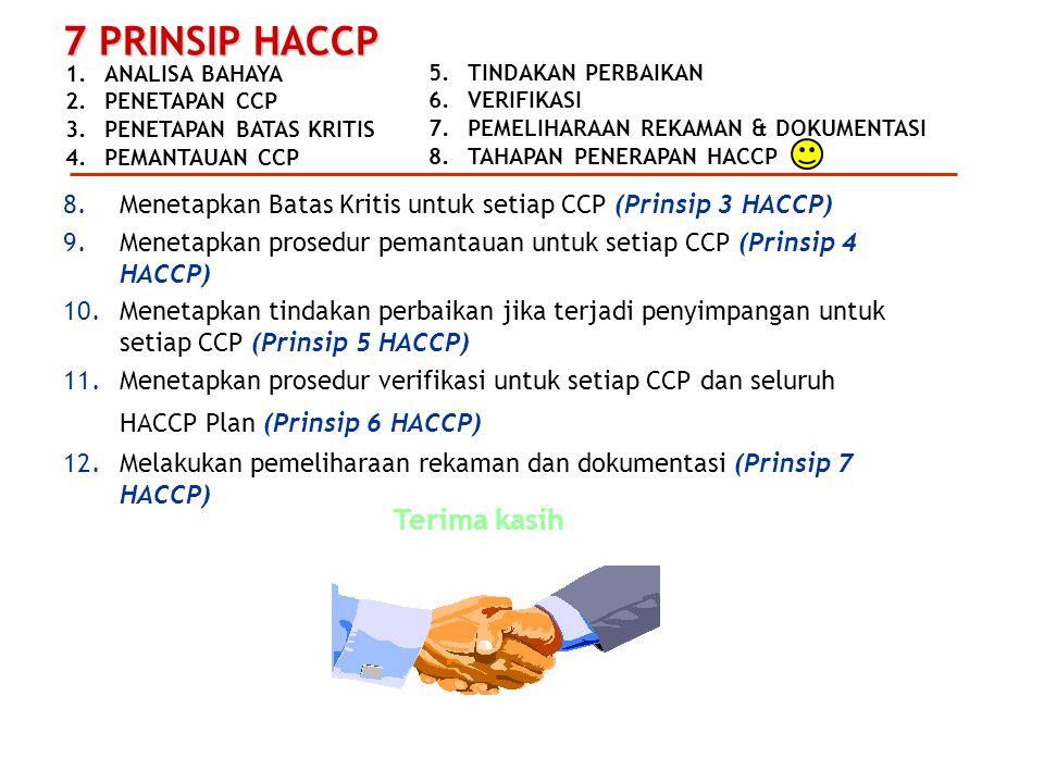 Menetapkan Batas Kritis untuk setiap CCP (Prinsip 3 HACCP)